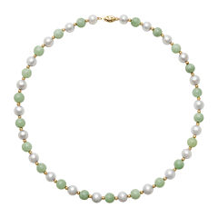 14K Yellow Gold Cultured Freshwater Pearl & Dyed Green Jade Necklace