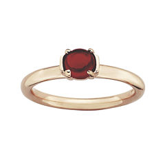 Personally Stackable Garnet 18K Rose Gold Over Sterling Silver Ring