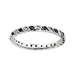 Personally Stackable 1/7 CTW White & Color-Enhanced Black Diamond Twist Ring
