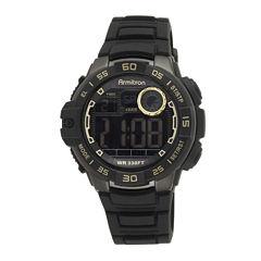 Armitron® Pro-Sport Mens Black Resin Strap Chronograph Sport Watch 40/8343GLDJ