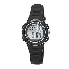 Armitron® Pro-Sport Womens Black Resin Strap Chronograph Sport Watch 45/7046BLKJ