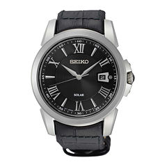 Seiko® Le Grand Sport Mens Black Leather Strap Solar Sport Watch SNE397