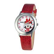 Disney Minnie Mouse Kids Red Glitter Watch
