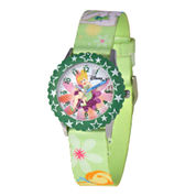 Disney Tinker Bell Kids Time Teacher Green Floral Strap Watch