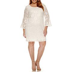 Robbie Bee Long Bell Sleeve Lace Sheath Dress-Plus