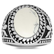 Mens White Coral Stainless Steel Band