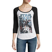 3/4 Sleeve Scoop Neck Star Wars Graphic T-Shirt