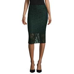 BELLE + SKY Lace Midi Pencil Skirt