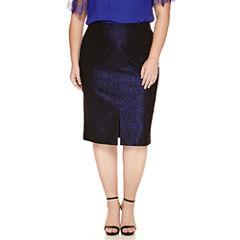 Worthington® Split Front Jacquard Pencil Skirt - Plus