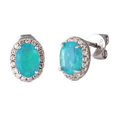 Oval Blue Opal Sterling Silver Stud Earrings
