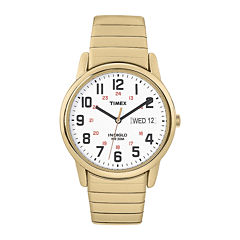 Timex® Easy Reader Mens Gold-Tone Stainless Steel Expansion Strap Watch T2N0929J