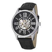 Stuhrling® Original Mens Black Leather Strap Skeleton Watch 7329.02