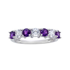 Genuine Amethyst and Lab-Created White Sapphire Sterling Silver Band Ring
