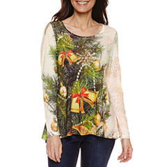 Unity World Wear Long Sleeve Scoop Neck T-Shirt-Womens Petites