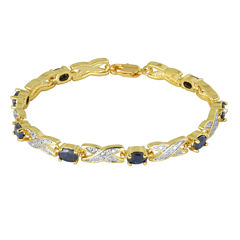 Sparkle Allure Womens Genuine Sapphire Tennis Bracelet