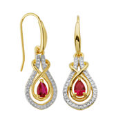 Sparkle Allure Red Ruby Drop Earrings