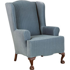 SURE FIT® Stretch Pinstripe 1-pc. Wing Chair Slipcover