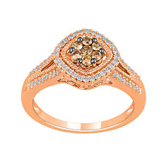 1/2 CT. T.W. White & Champagne Diamond 10K Rose Gold Ring