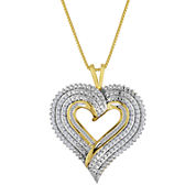 1/2 CT. T.W. Diamond Layered Heart Pendant Necklace