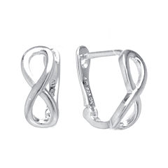 Sterling Silver Infinity Leverback Hoop Earrings