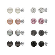 Cultured Freshwater Pearl and Crystal Sterling Silver 8-pr. Stud Earring Set