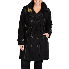 Excelled® Faux-Wool Belted Trench Coat - Plus