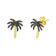 1/6 CT. T.W. Color-Enhanced Green Diamond Palm Tree Earrings