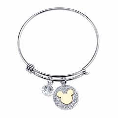 Disney Womens Silver Over Brass Bangle Bracelet