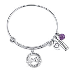 Footnotes Womens Genuine Amethyst Silver Over Brass Bangle Bracelet