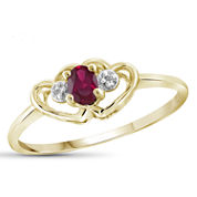Womens Diamond Accent and Lab-Created  Red Ruby Gold Over Silver Delicate Ring