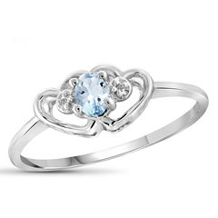 Womens Diamond Accent Blue Aquamarine Sterling Silver Delicate Ring