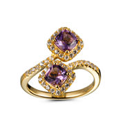 Womens Purple Amethyst 14K Gold Over Silver Bypass Ring