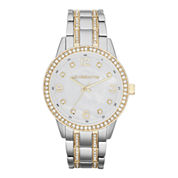 Liz Claiborne® Womens Two-Tone Crystal Large-Scale Watch