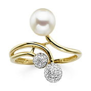 Pearl and Lab-Created White Sapphire Sterling Silver Ring