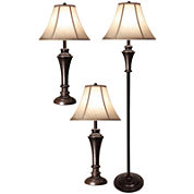StyleCraft 3-pc. Bronze Lamp Set