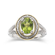 14K Gold Over Silver Peridot & Diamond-Accent Ring