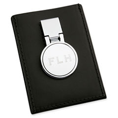 Personalized Leather Credit Card Holder & Money Clip