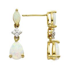 14K Gold-Plated Sterling Opal Drop Earrings