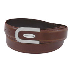 Stacy Adams® Leather Belt with U-Shaped Plaque Buckle