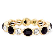 Monet® Black Crystal Gold-Tone Stretch Bracelet
