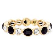 Monet® Black Crystal Gold-Tone Stretch Bracelet