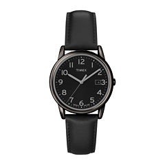 Timex Mens Round Dial Black Leather Strap Watch