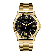 Caravelle New York® Mens Black Round Dial & Gold-Tone Bracelet Watch 44B104