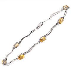 Sterling Silver Citrine & Diamond Accent Bracelet