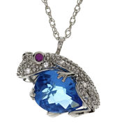 Lab-Created Blue Topaz, Ruby & White Sapphire  Frog Pendant Necklace