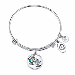 Footnotes Womens Green Silver Over Brass Bangle Bracelet