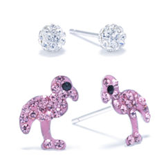 Silver Treasures 2-pc. Pink Sterling Silver Earring Sets