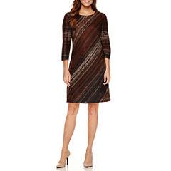 Studio 1 3/4 Sleeve Sweater Knit Shift Dress