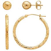 LIMITED QUANTITIES! 14K Yellow Gold Hoop & Stud Earring Set