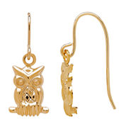 LIMITED QUANTITIES! 10K Yellow Gold Owl Drop Earrings